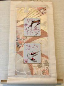 Fukuro obi belt Kakejiku style wall decor Sakura and Koi