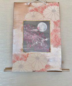 Fukuro obi belt Kakejiku style wall decor YOZAKURA sakura in full moon night