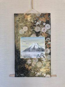 Fukuro obi belt Kakejiku style wall decor Mt.Fuji, crane bird, pine tree