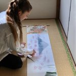 Making Emakimono style Japanese scenery painting art scroll