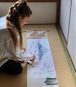 Making Emakimono style Japanese scenery painting art scroll