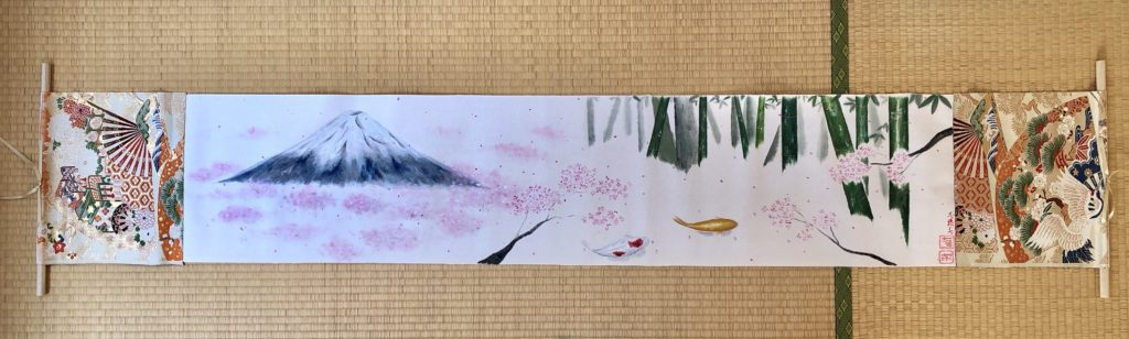 Emakimono style landscape Japanese scenery painting art scroll