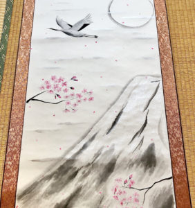 Extra large Japanese painting art Kakejiku crane bird