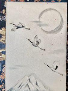 Crane birds Japanese painting art Kakejiku