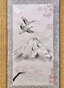 Crane birds Japanese painting Kakejiku art