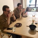 guests drinking maccha green tea