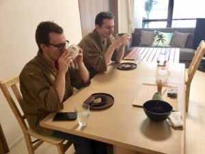 guests drinking maccha green tea