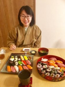 guest with sushi