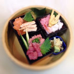 artistic sushi in masu box