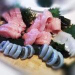 fatty tuna and rolled squid sashimi photo