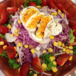 salad with eggs and purple cabbage