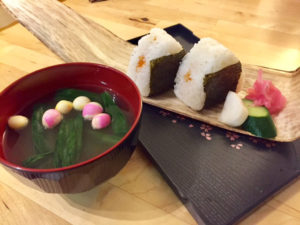 onigiri with miso soup