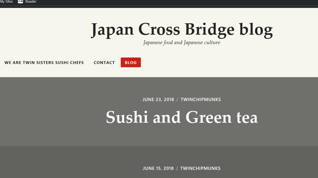 screen shot of blog