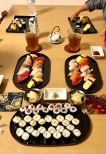 Learning sushi with eyes and mouth course