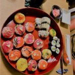 Amazing tuna and salmon sushi guest made