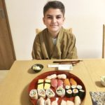 The guest with beautiful sushi he made