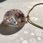3D Amazing Sakura and Mt. Fuji dome necklace