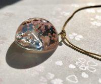 3D Amazing Mt. Fuji and Sakura dome necklace