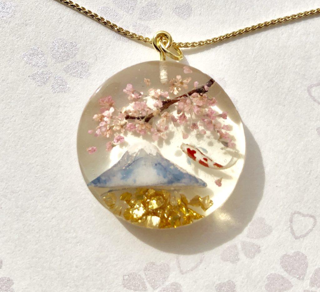 3D Japanese scenery of Mt. Fuji, Sakura, koi fish necklace