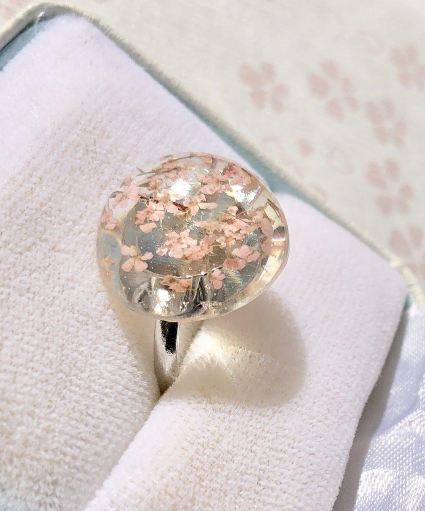 Amazing Sakura cherry blossoms dome ring
