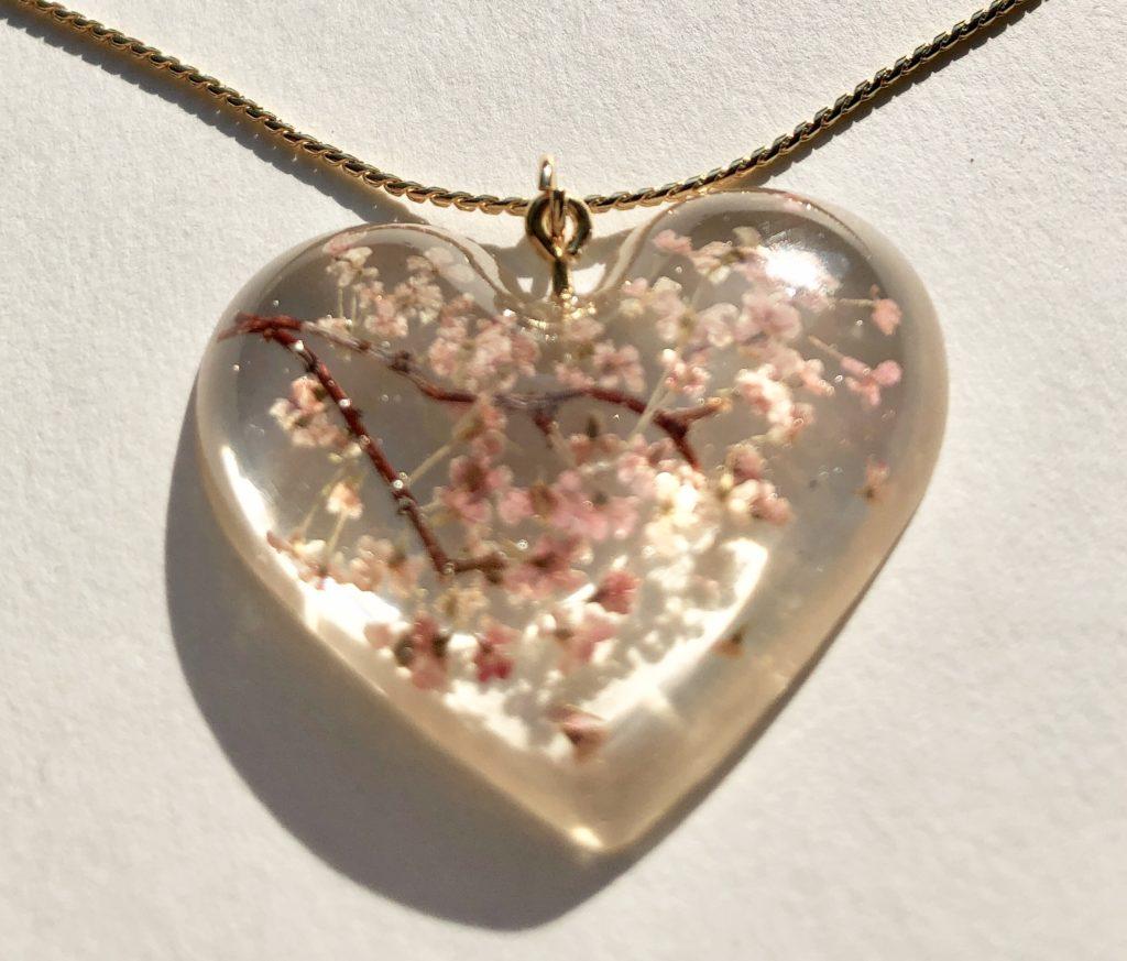 Amazing big heart 3D Sakura cherry blossoms necklace