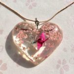 Unique loving birds and cherry blossoms necklace