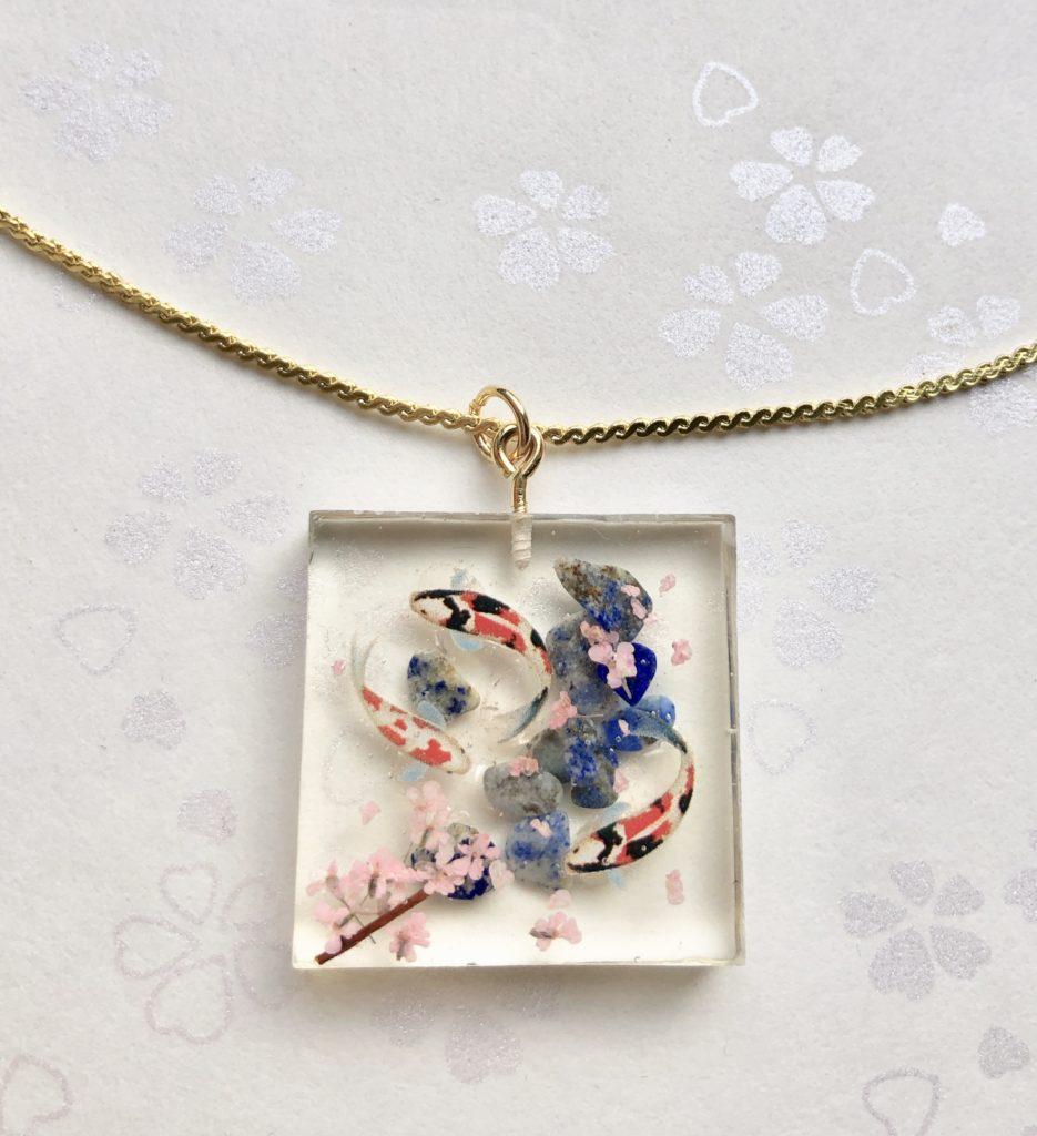 Japanese style miniature koi fish and Sakura cherry blossoms necklace