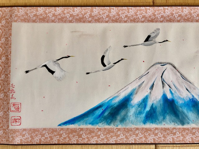 Japanese painting calligraphy art hanging scroll Kakejiku wall decor -landscape Mt. Fuji, crane birds, Sakura