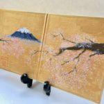 Mt.Fuji and Sakura calligraphy painting on Etsy