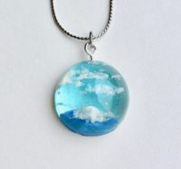 Crystal dome 3D Japanese Summer sky necklace
