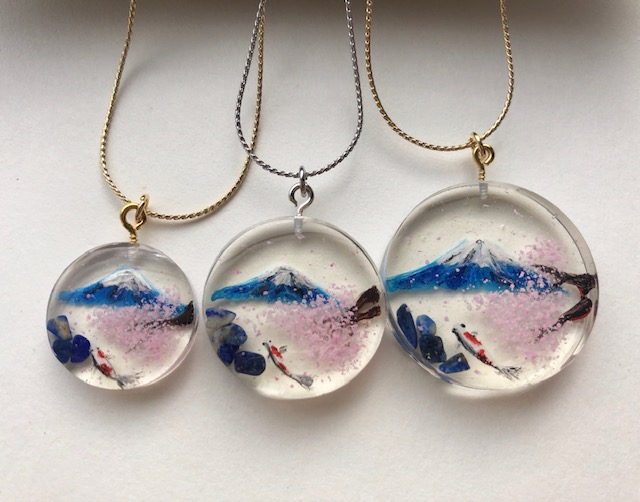 Japanese style 3D painting Mt. Fuji, Sakura, and Koi fish necklace