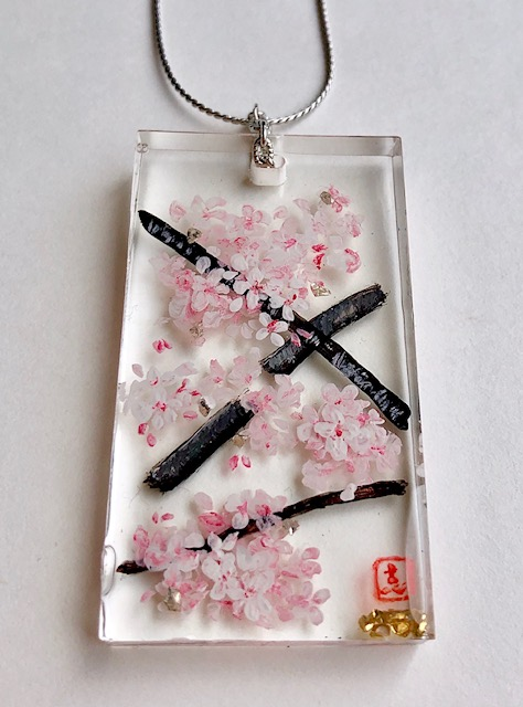 3D painting ZEN style Sakura cherry blossoms necklace