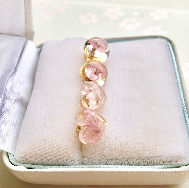 Sakura color real flower earrings