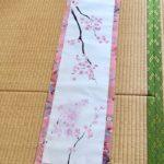 Gorgeous Kimono silk Sakura cherry blossom Kakejiku hanging scroll