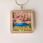 Unique wooden box Japanese scenery necklace