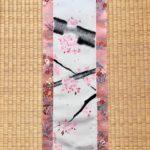 Kimono silk ZEN Sakura cherry blossom Kakejiku wall decoration
