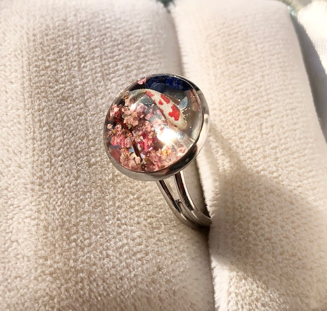 Japanese style 3D Sakura and Koi fish ring
