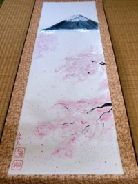 Large Kakemono of Mt. Fuji and Sakura cherry blossom on Etsy