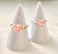 Crystal heart Sakura cherry blossoms ring