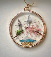 Japanese style good luck necklace - crane birds ORIZURU, Mt.Fuji, Sakura cherry blossom, pine tree