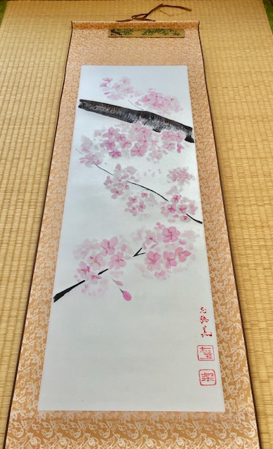Japanese ZEN style Sakura cherry blossom painting wall decor