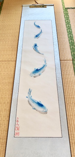 3D painting blue koi fish hanging scfroll
