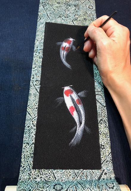 painting Japanese Koi fish painting on Kimono kakejiku hanging scroll