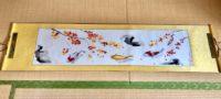 Japanese painting calligraphy art hanging scroll Kakejiku wall decor Koi fish and Autumn color