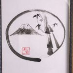 Japanese painting calligraphy Ink art Kakejiku wall decor ZEN circle with Mt Fuji and bamboo
