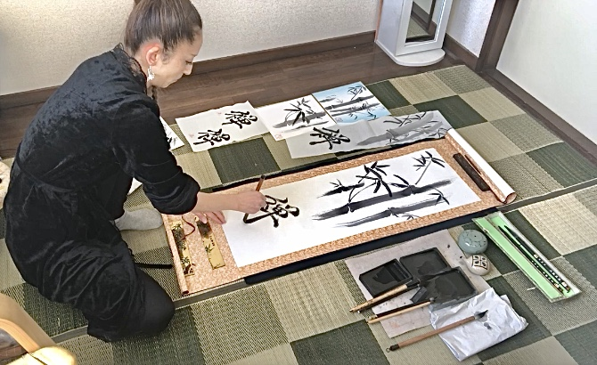 making calligraphy art painting