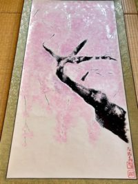 Extra large wide Japanese ZEN Sakura cherry blossoms Kakejiku hanging scroll