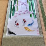 Extra large wide Japanese painting Koi fish Bamboo and Sakura kakejiku hanging scroll