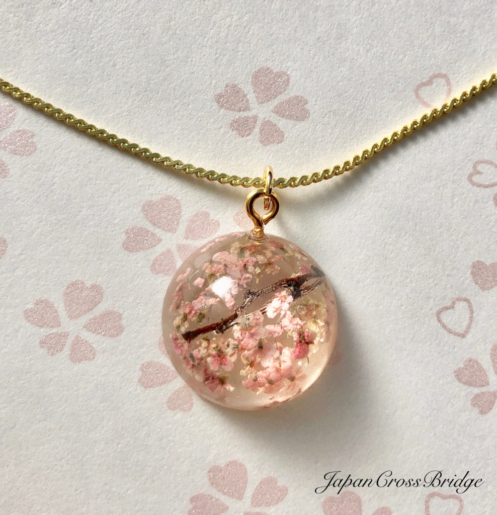 Amazing crystal Sakura cherry blossoms middle necklace