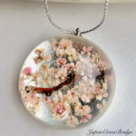 Amazing Sakura cherry blossoms crystal glass necklace